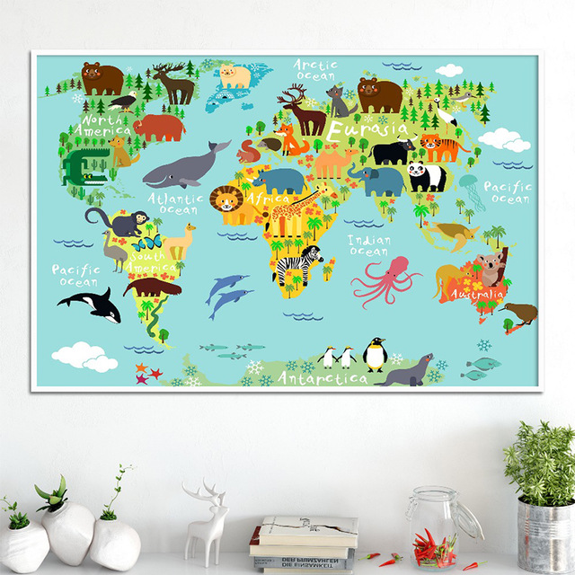 FGHGF Nordic Children Kawaii Cartoon Animals World Map, Canvas Print Painting Poster Wall Pictures For Kids  Home Decor