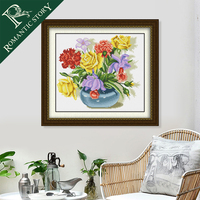 Romantic Story Colorful Flowers Vase Embroidery Cross Stitch Needlework Cross Stitching Sets Handmade Art DIY Home Decoration