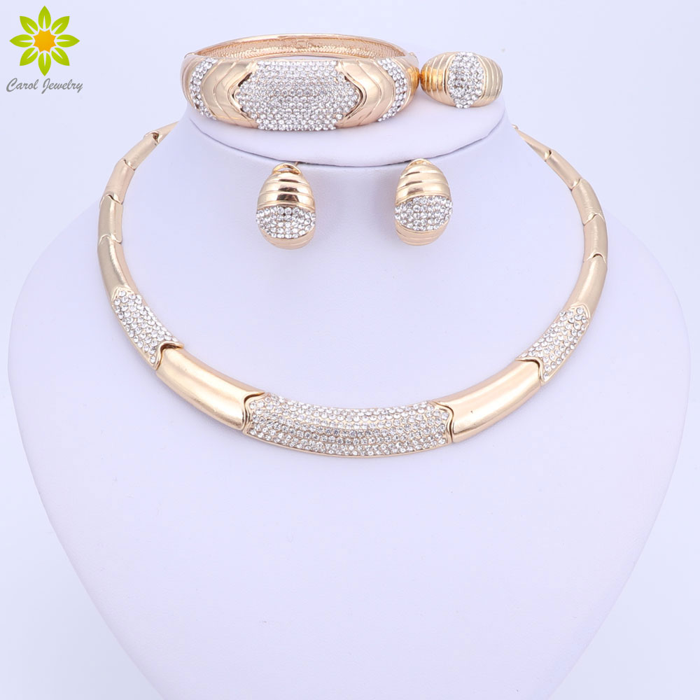 wedding ring necklace new arrival rhinestone jewelry gold color necklace 9968