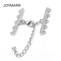 5 Strands Zircon Sterling Silver Lobster Clasp With Extended End Tail Chain Fine Jewelry Accessories For Pearl Necklace SC CZ064