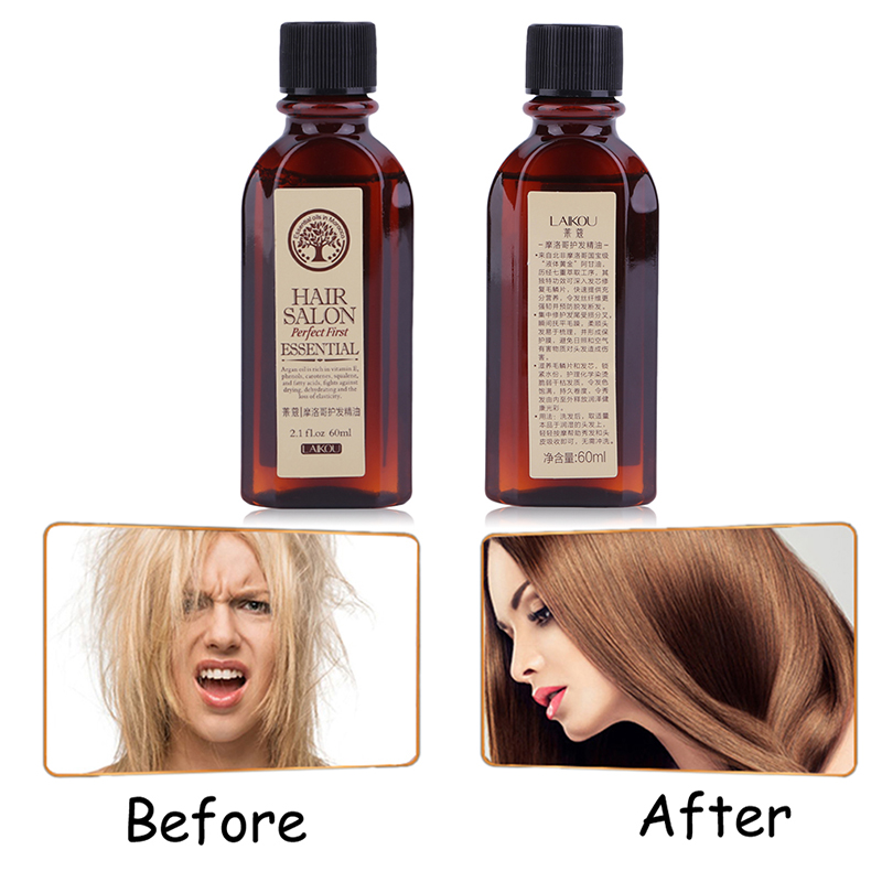 1 Bottle 60ml Moroccan Pure Argan Oil Dry Hair Oil Hair Care Rapid Growth Essential Oil Repair Hair Follicle Regeneration TSLM2