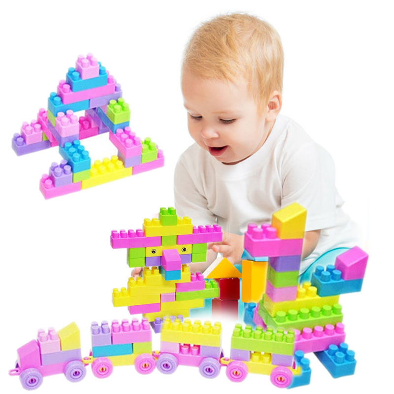 46Pcs Plastic Children Kid Puzzle Educational Toys Building Bricks Toys DIY Creative Bricks Toys for Children Brinquedos 2016 new sluban 0502 building blocks 415pcs diy creative bricks toys for children educational bricks brinquedos legeod