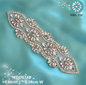 (30PCS )Wholesale bridal hand beaded sewing crystal rhinestone applique iron on for wedding dresses WDD0748