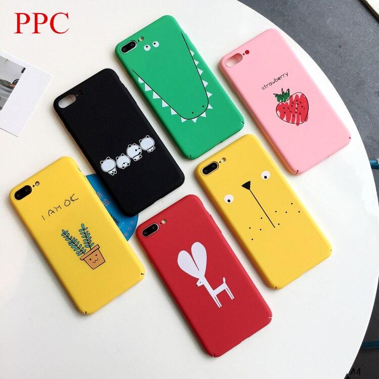 Cute plants cactus phone Cases For iphone X 6 6s 6plus 7 7Plus Animals dog deer hard Plastic case for iphone 8 8plus back cover