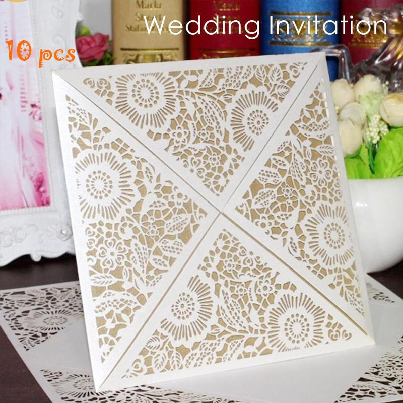 10pc Wedding Invitations Cards Delicate Elegant Sincerity Guests Romantic Wedding Carved Invitation Greeting Card Bridal 3 1 design laser cut white elegant pattern west cowboy style vintage wedding invitations card kit blank paper printing invitation