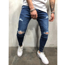 Broken hole jeans mens slim trousers zipper decoration 2019 casual thin section summer classic fashion
