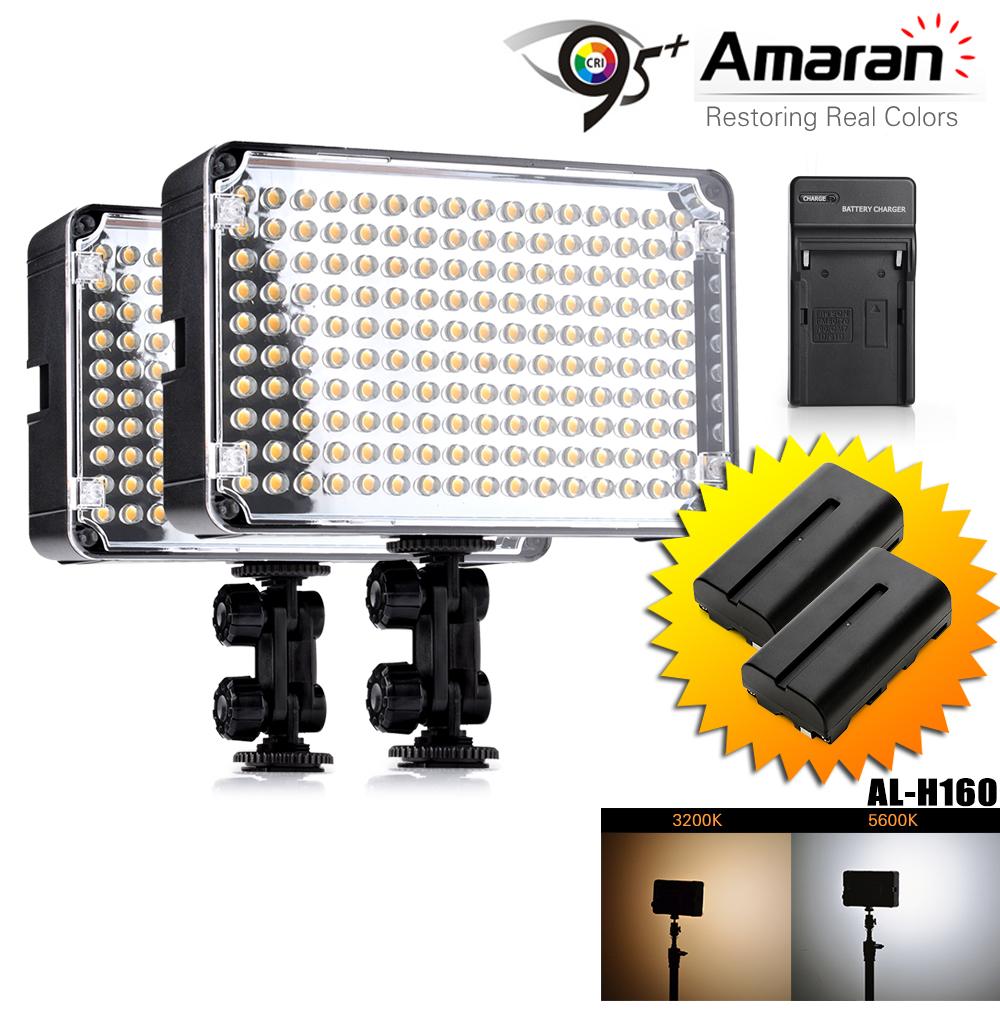 Prix pour 2 pcs/lot Aputure Amaran AL-H160 CRI95 + 160 LED Video Studio Lumière Photographie Éclairage + NP-F550 Rechargeable Batterie + Chargeur