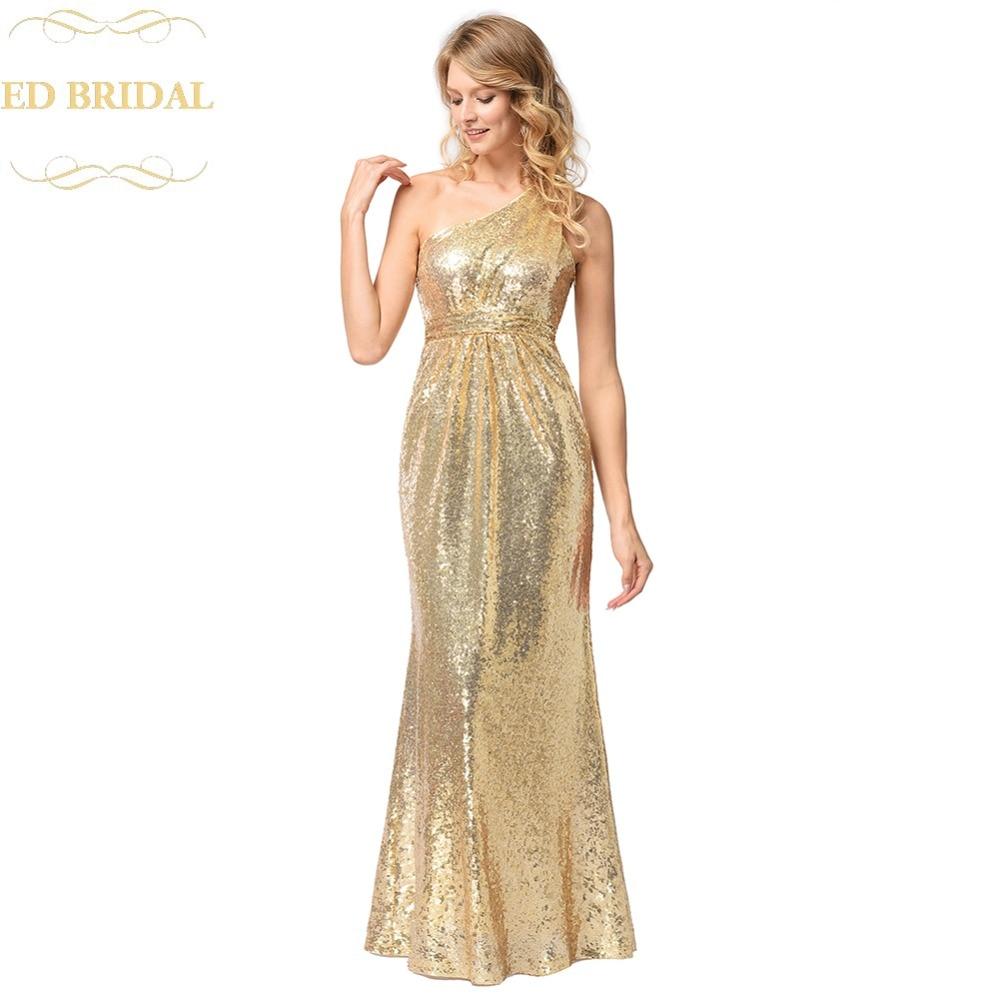 Een schouder goud pailletten zeemeermin avondjurk lange avond - Jurken voor bijzondere gelegenheden