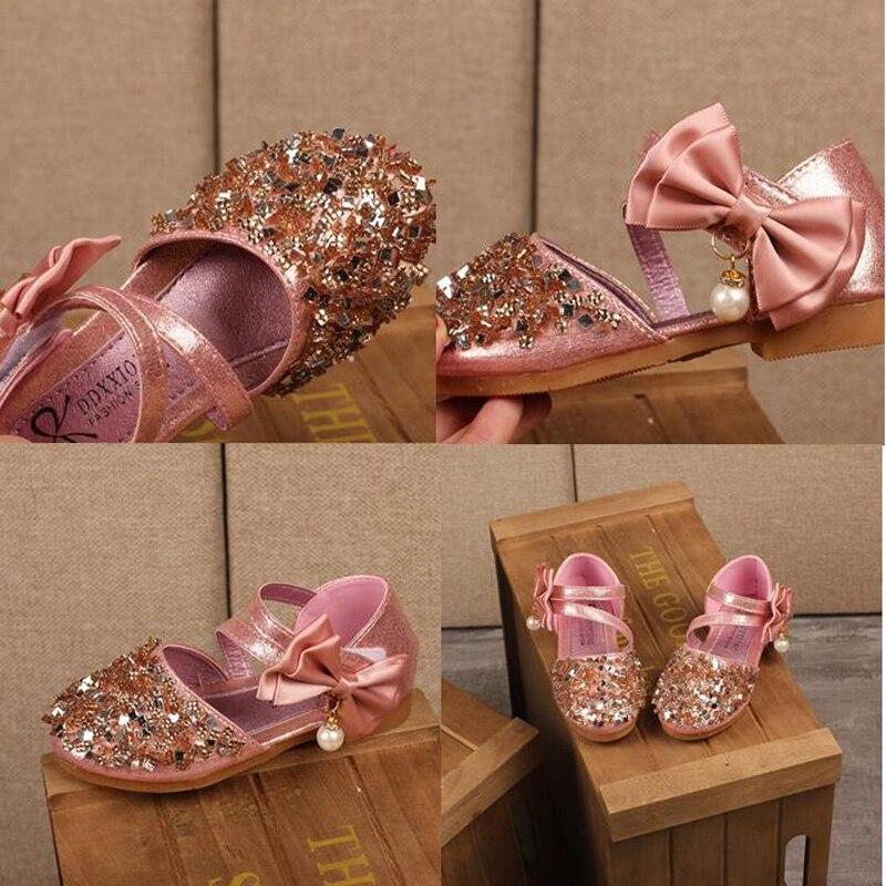 H2231 automne nouveaux enfants en cuir chaussures décontracté filles princesse talon plat chaussures de fête de mode paillettes arc perle enfants chaussures - 4
