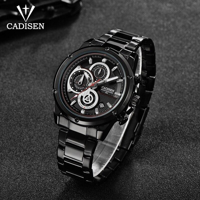 C9063 CADISEN luxury men 39 s analog steel band sport watch men 39 s military watch men 39 s dating quartz clock Relogio ino 2019 in Quartz Watches from Watches