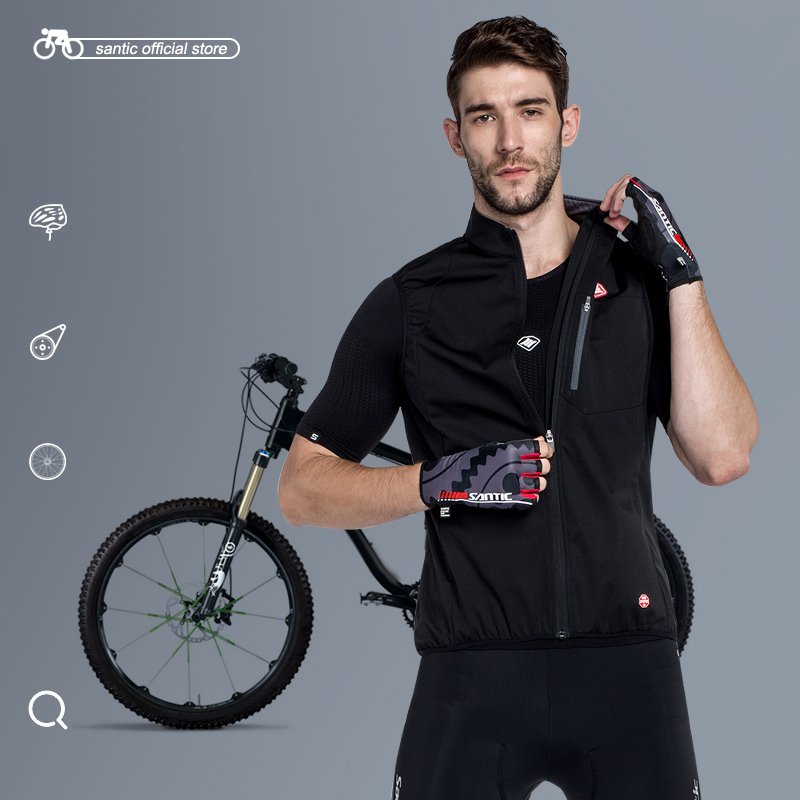 Santic Men Cycling Windproof Vest Reflective Sleeveless Anti-sweat Quik Dry Spring Cycling Jackets Riding Vest quik lok rs513