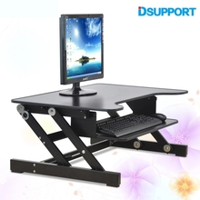 Dsupport E8 EasyUp Height Adjustable Sit Stand Desk Riser Foldable Laptop Desk Stand With Keyboard Tray Notebook/Monitor Holder