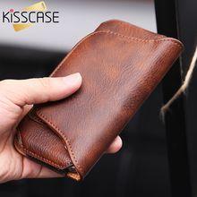 Kisscase поясные сумки повседневные телефона Чехлы для iPhone 6 6 S Plus для Samsung Galaxy S7 S6 край Универсальный Кожа бумажник клип чехол