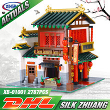 XingBao 01001 2787Pcs Creative Chinese Style The Chinese Silk and Satin Store Set Educational Building Blocks Bricks Toys Model