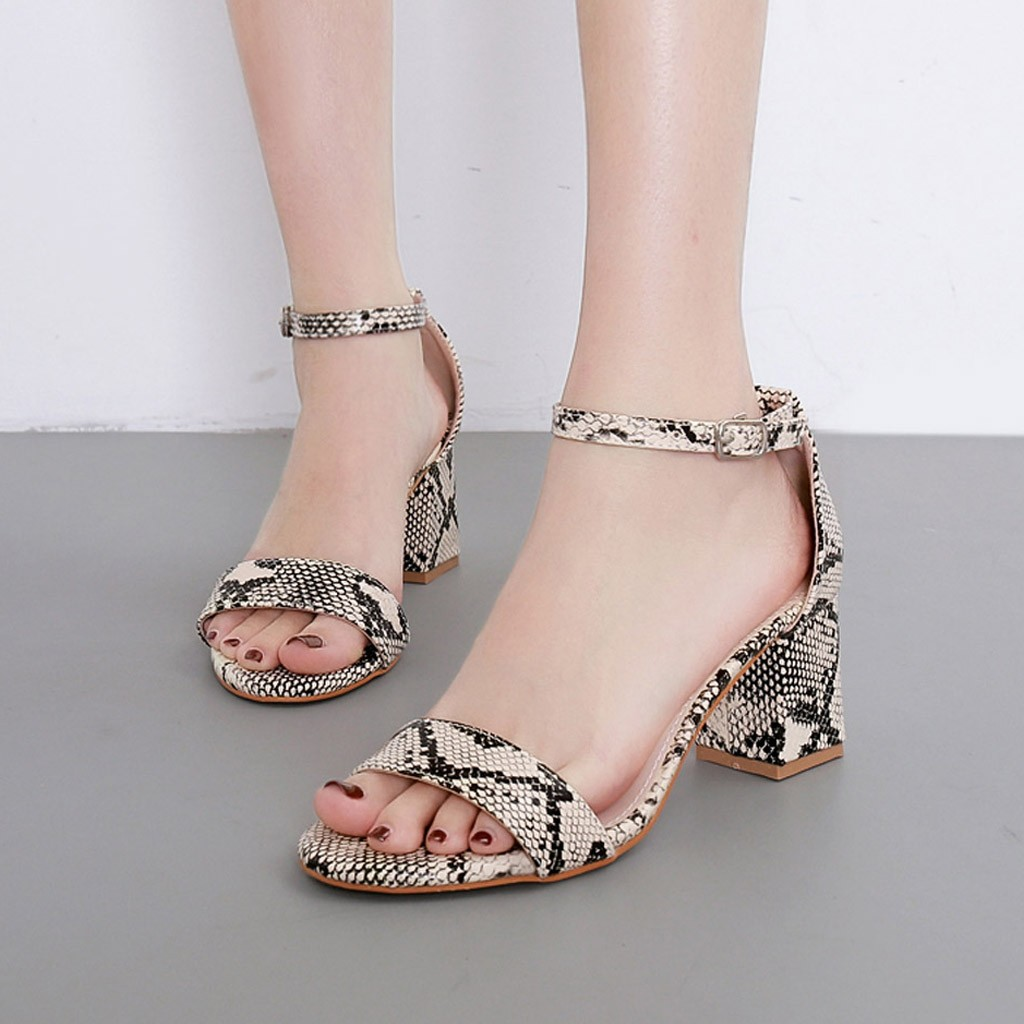 Spirited Xiniu Summer Summer Women Sandals Snake Print Ankle One Word Buckle Sandals Shoes Zapatos De Mujer Strengthening Sinews And Bones Heels Middle Heels