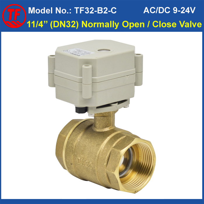 все цены на  Recommend 2 Way Brass 11/4'' Normal Open/Close Motorized Ball Valve AC110V-230V 2/5 Wires DN32 Electric Valve With Indicator  онлайн