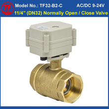 "Recommend 2 Way Brass 11/4"" Normal Open/Close Motorized Ball Valve AC110V-230V 2/5 Wires DN32 Electric Valve With Indicator"