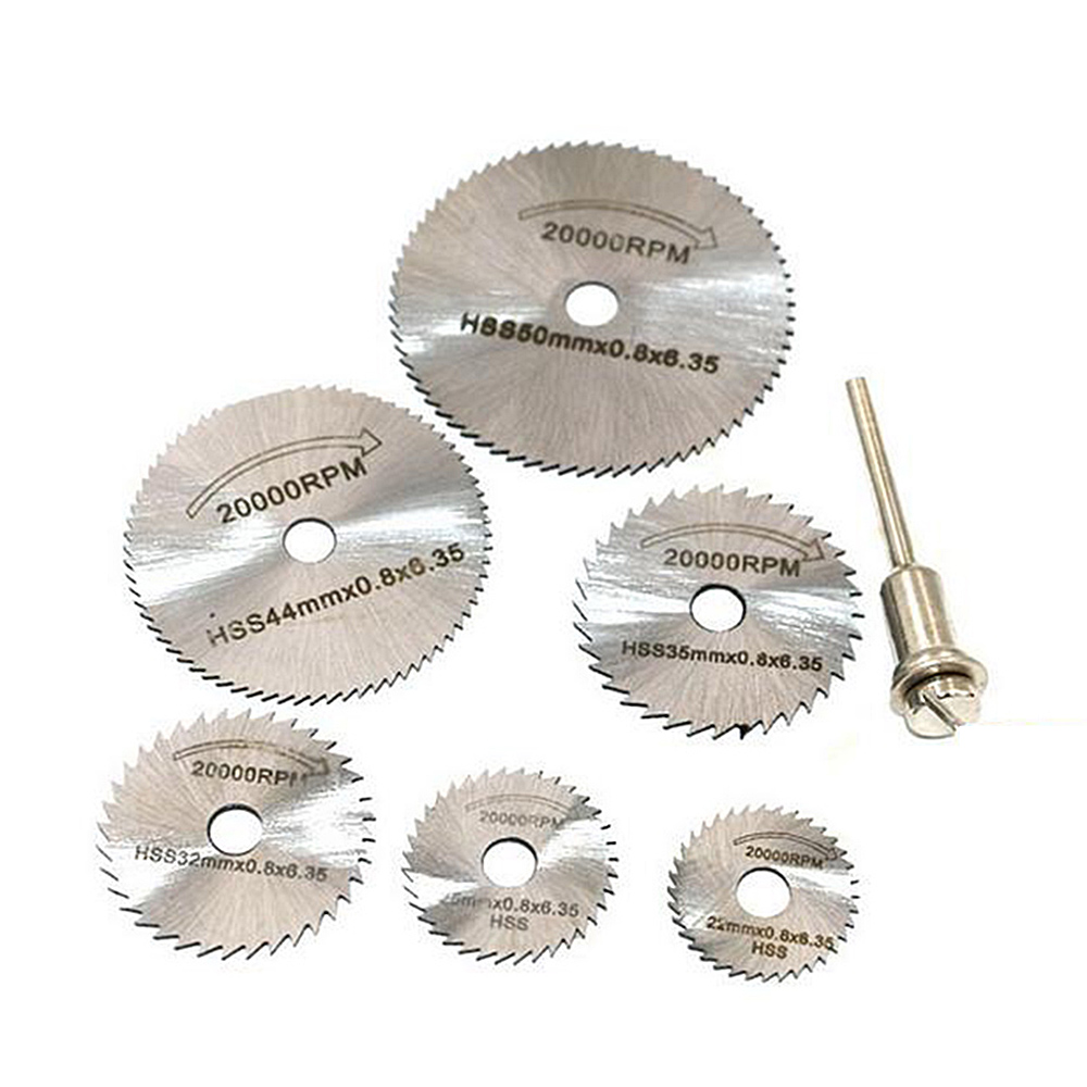 6 Pcs HSS Metal Circular Saw Disc Wheel Blades Cut Off Drill Rotary Tools Fine Precision Cuts For Small Cut Off Jobs