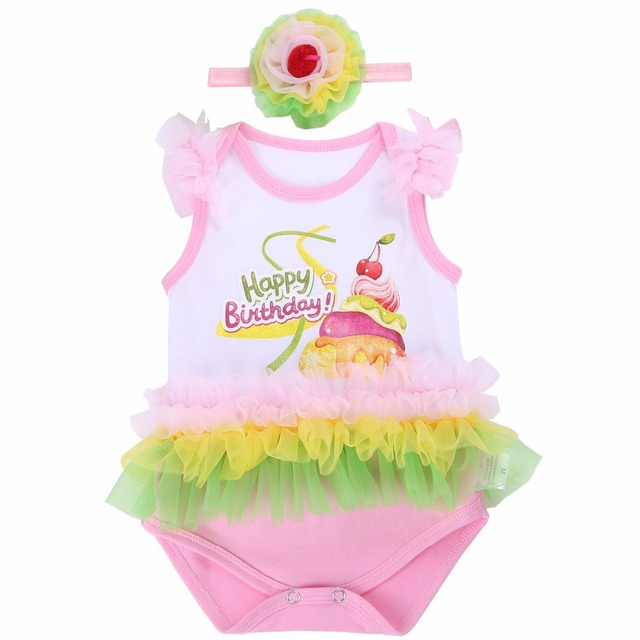 088e2742ebb Happy Birthday Baby Girls Clothing Bebe Bodysuit Cake Headband 2PCS Ruffle  Lace Short Infantil Body Bebe Underwear baby Clothes