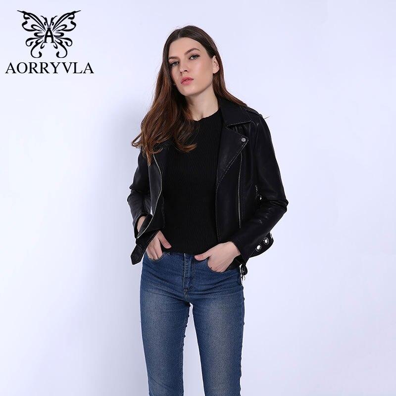 AORRYVLA 2019 Spring Female PU   Leather   Coats Black Color Motorcycle Short Zipper Jacket Female   Leather   Jacket Biker Hot Model