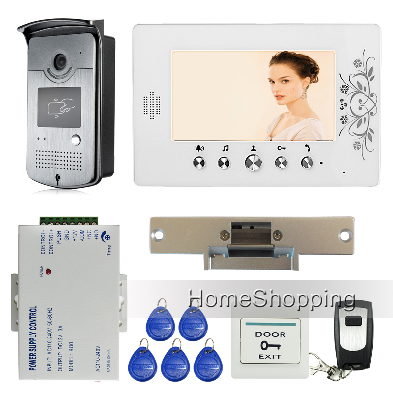 Free Shipping Home Wired 7 Color Video Door Phone Intercom Entry RFID Access Camera + 1 Monitor + Electric Strike Lock In Stock free shipping brand new wired 7 color home video door phone doorbell intercom system 1 rfid access camera 1 monitor in stock