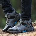 New Felt Boots Shoes Men Boots Plush Winter Big Size Black Suede Shoes Short Cowboy Waterproof Comfortable 2016 Bot Genuine