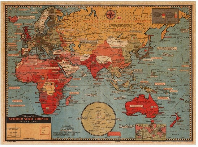 Retro World Map Nautical Ocean Sea Maps Vintage Kraft Paper Poster - Retro world map poster