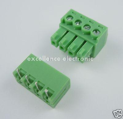 50 Pcs 3.81mm Pitch 4 Pin Angle Screw Pluggable Terminal Block Plug Connector 10 pcs 5 08mm right angle 8 pin screw terminal block connector pluggable green