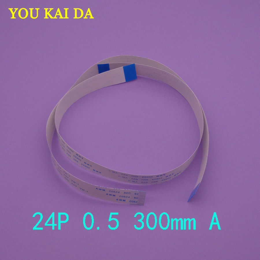 2-100pcs New FFC FPC flat flexible cable 0.5mm pitch 24 pin 24PIN Forward Length 300mm Width 12.5mm Ribbon Flex Cable 2 pcs 125 mm 60 pin 0 5mm pitch ffc cable flat ribbon flat cable same sides 60p for ffc connector ul style 20624