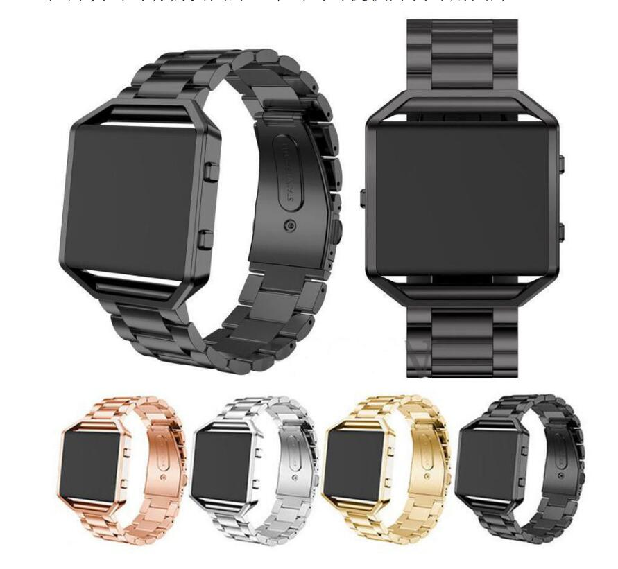 For Fitbit Blaze Band, Joyozy Smart Watch Band with Metal Frame Stainless Steel Replacement Strap for Fitbit Blaze -Silver black fitbit blaze band large metal frame housing