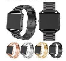 Pour Fitbit Bande de Flammes, Joyozy Smart Watch Bande avec Cadre En Métal En Acier Inoxydable Courroie De Remplacement pour Fitbit Blaze-Argent noir