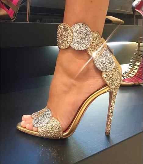 open toe fluffy embellished heeled sandals