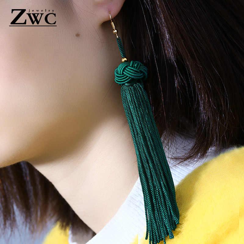 ZWC Vintage Ethnic Long Tassel Drop Earrings for Women Lady Fashion Bohemian Statement Fringe Dangle Women Earring 2019 Jewelry