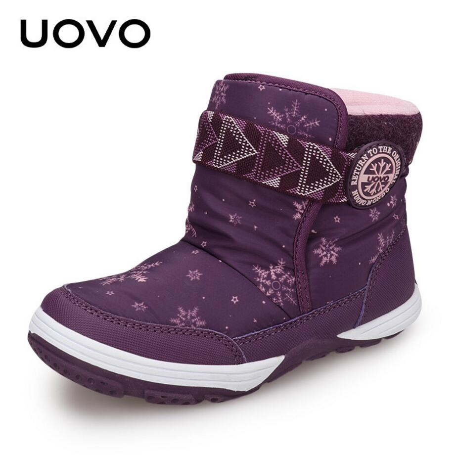 UOVO Winter Girls & Boys Snow Boots Baby Children Shoes Warm Comfortable Fashion Outdoor Christmas For Toddlers Kids Size 24-36 uovo 2017 children winter boots girls boys kids snow boots christmas flower fashion rain boots warm shoes boats rubber boots