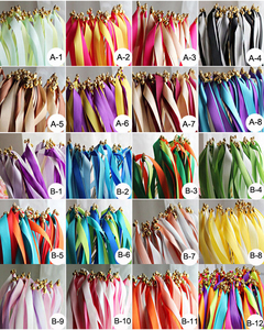50pcs /lot Multicolour Wedding Ribbon Stick/Sparklers Fairy Magic Wands With Bell Wedding Ribbon Wands Party Supplies(China)