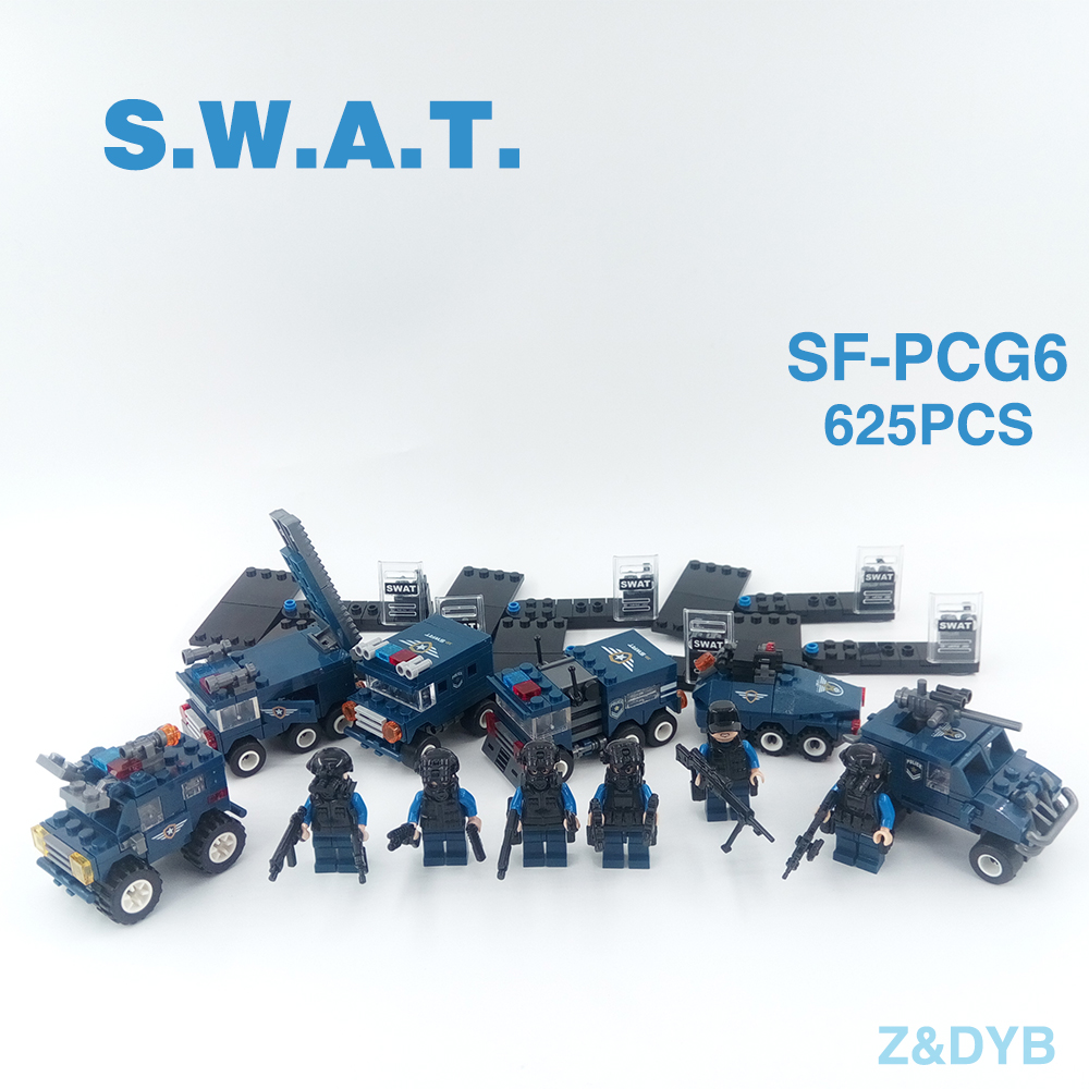 Image 3 - 625PCS/Sets SWAT Team City Police Military Figures Soldier Army Gun Weapon Modern War Build Block Brick legoed For Children Toy-in Blocks from Toys & Hobbies