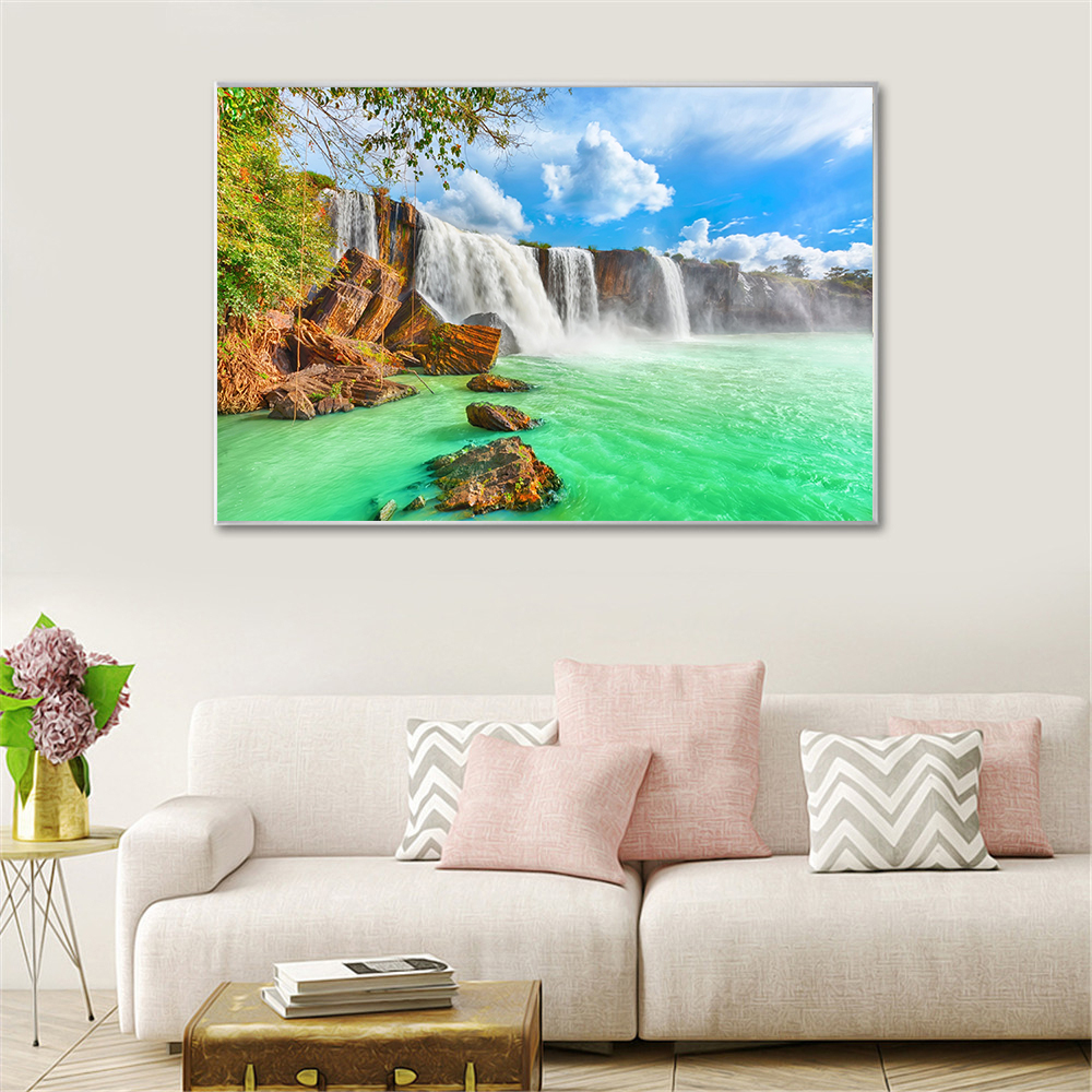Thailand Forest River Waterfall SINGLE CANVAS WALL ART Framed Print