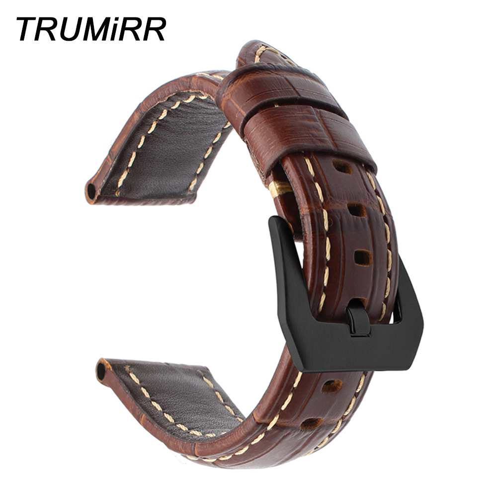 Italian Genuine Leather Watchband 20/22/24/26mm for Panerai Luminor Radiomir Watch Band 316L Stainless Steel Clasp Wrist Strap(China)