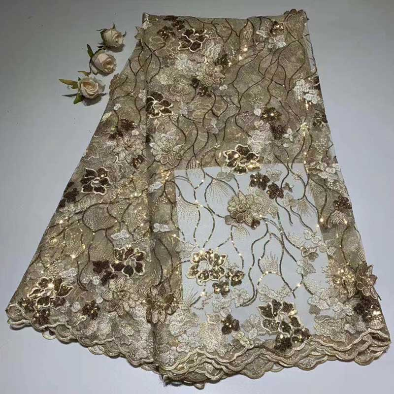 Hot Selling Gold French Tulle Mesh Lace Fabric With Sequins High quality Applique with 3D Flowers