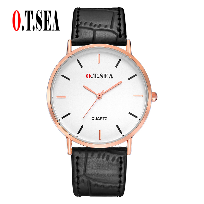 Top O.T.SEA Brand Gold Case Leather Watches Men Women Unisex Fashion Casual Dress Quartz Wrist Watch 6688-5