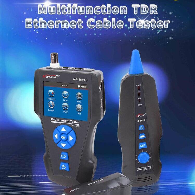 Noyafa NF 8601S TDR Многофункциональный ЖК дисплей сетевой кабель тестер трекер для RJ45, RJ11, BNC, металлического кабеля, PING/POE (8601 S)