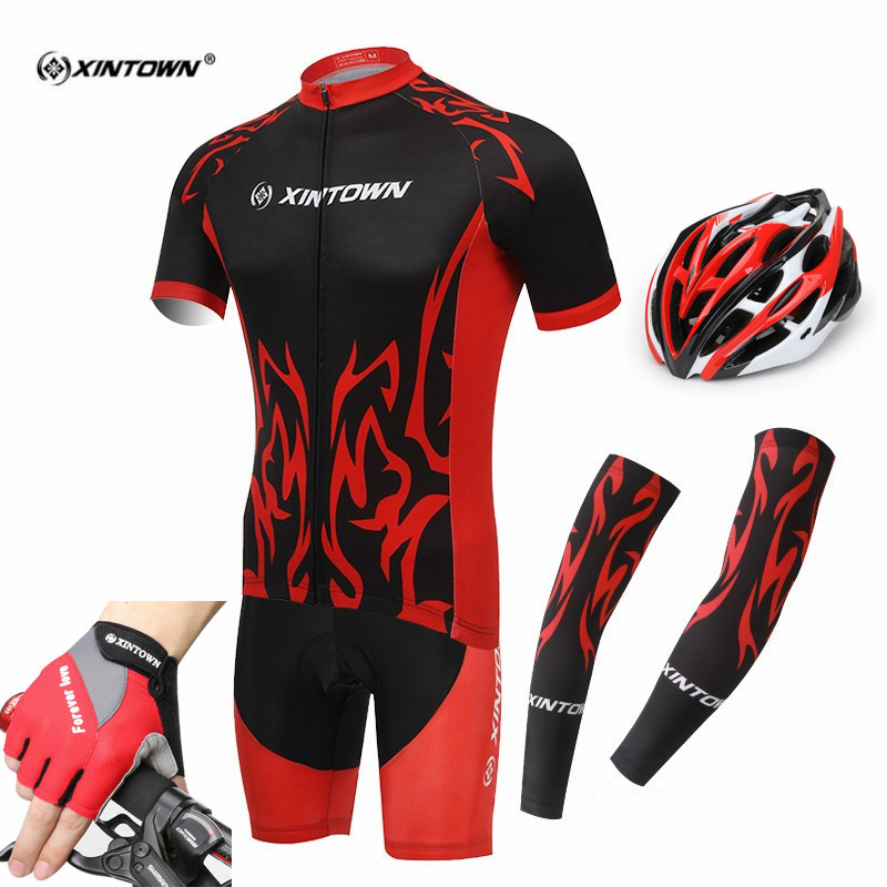 XINTOWN N Men's Cycling Jersey Sets Breathable Clothing Helmet Gloves Cuff Bicycle Clothes Ropa Ciclismo Sports Cycling Wear racmmer cycling gloves guantes ciclismo non slip breathable mens