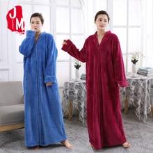Thick Bathrobe Female Long Solid Warm Full Sleeves Bath Robe Femme Coral Fleece Kimono Robe Women Flannel Winter Sleep M L XL female coral fleece kimono robe nighty