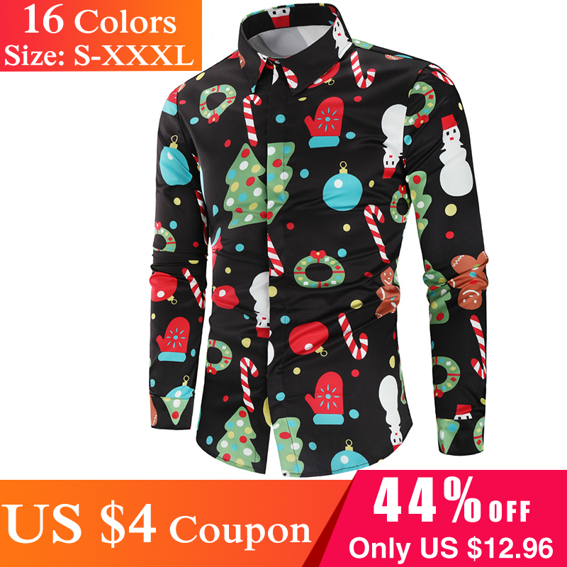 RED BEKER Men's Shirt Christmas 3D Print Tree Shirt Men Autumn Long Sleeve Shirt Winter Printed Mens Funny Shirt QX01A00AJ