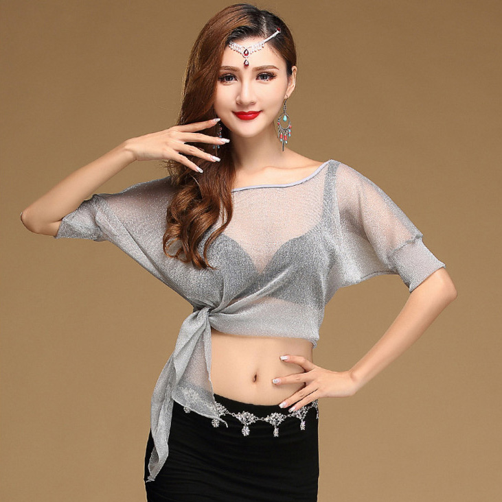 Sexy Belly Oriental Dance Mesh Tops Shirt Costume For -4996