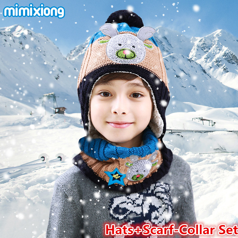 3pcs/Set Baby Kids Winter Hat Scarf Mittens Sets Adorable Rabbit Knitted Children Warm Caps Scarves Gloves For Boys Suits Autumn цены