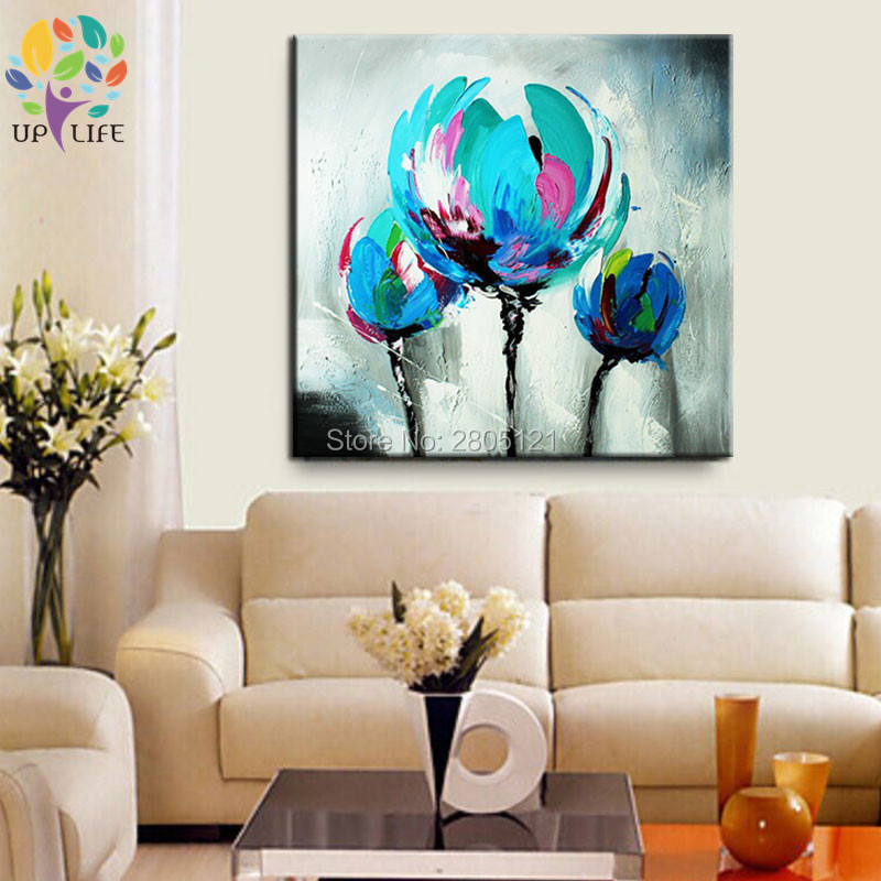 100% Hand made promotion bloom blue Flowers canvas painting Abstract - Home Decor - Photo 2