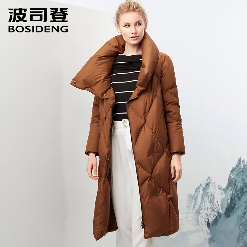 BOSIDENG new women GOOSE down jacket X-long 90% GOOSE down coat velour big collar lady of quality luxury B70143008
