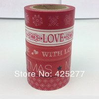Red Happy Holidays And Paper Tape Lovely Paper Decoration Christmas Handmade Gift DIY Japan Tape 5pcs