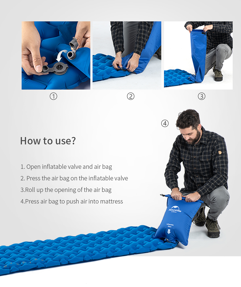 Phasor Ultra Lightweight Premium Polyester Silk Pocket Sized Inflatable Large Camping Pillow Blue